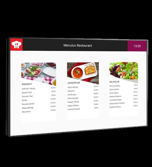 Menulux cep restoran menü programı dijital menü sistemi - giriş ekranı