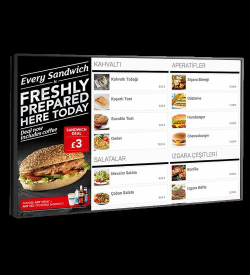 Menulux cep restoran menü programı dijital menü sistemi ürünler ekranı