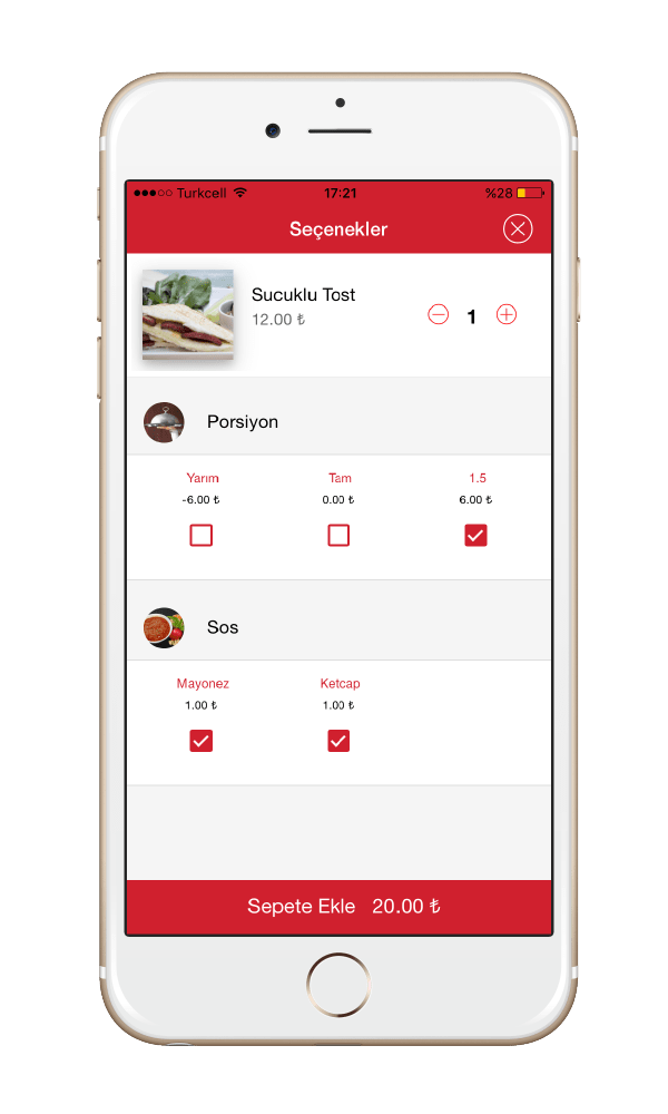 Menulux Cep Restoran Sipariş Sistemi Mobil Sipariş Programı Ürün Seçenekleri Ekranı