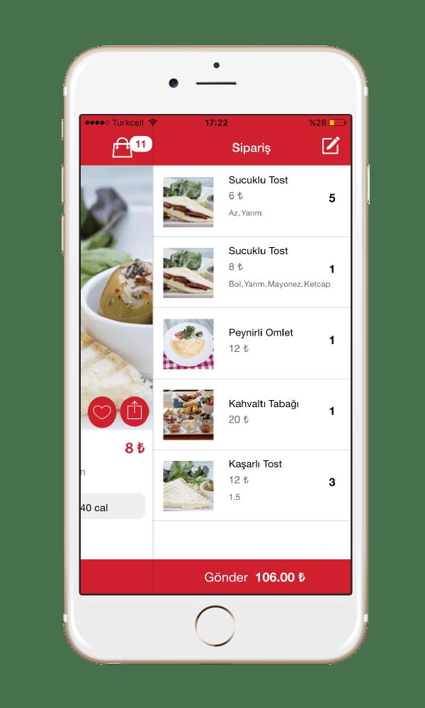 Menulux Cep Restoran Sipariş Sistemi Mobil Sipariş Programı Ürün Sepet Ekranı