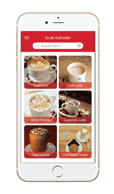 Menulux Pocket mobile ordering system products screen
