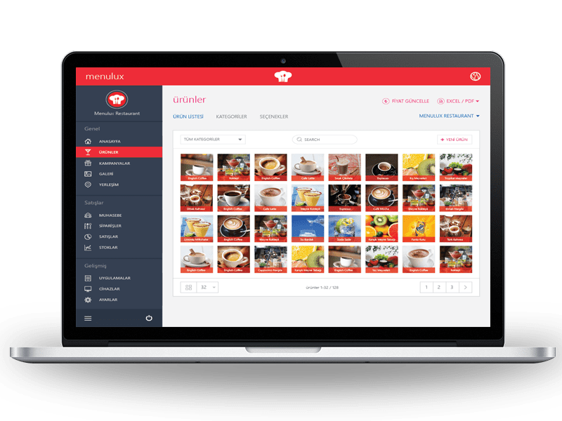 Menulux Portal online restaurant management system for advanced reporting solution