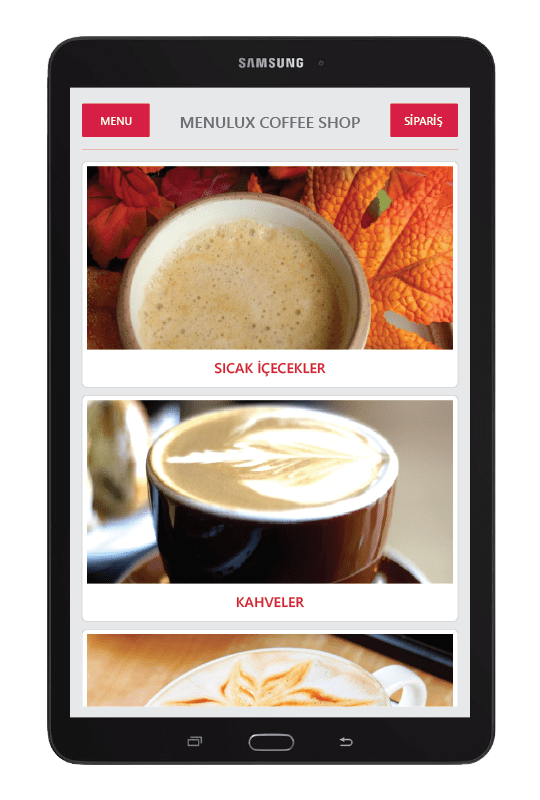 Menulux tablet menu system product categories screen